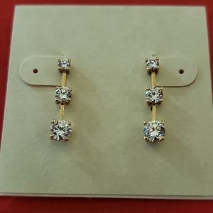 14K gold 3 tier CZ earrings